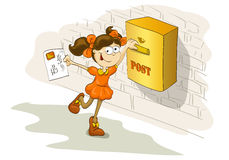 Szczęśliwy dziewczyny dosłania list kochany przyjaciel Zdjęcia Stock