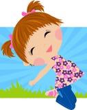 Szczęśliwy dziewczyny doskakiwanie ilustracja wektor