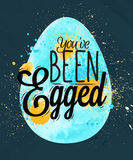 Szczęśliwy Easter jajka plakatowy błękit Zdjęcia Royalty Free