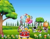 Szczęśliwy Easter królik jedzie samochód z pisklęcym mieniem dekorującym szybko się zwiększać ilustracji