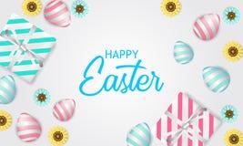Szczęśliwy Easter radosny z pastelowego koloru 3D jajkiem z kwiatu prezenta i okwitnięcia pudełka teraźniejszością ilustracji