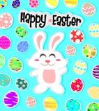 Szczęśliwy Easter tło z białym jajkiem i królikiem ilustracji