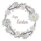 Szczęśliwy Easter wianek z chamomile i wierzbą na bielu royalty ilustracja