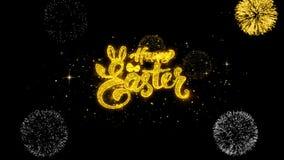 Szczęśliwy Easter złoty tekst mruga cząsteczki z złotym fajerwerku pokazem
