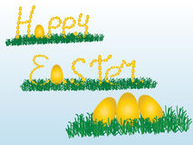 Szczęśliwy Easter Z królikiem i jajkami Fotografia Royalty Free