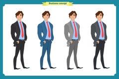 Szczęśliwy elegancki biznesmen w kostiumu Trwanie osoba sprawa tła odizolowane biały facet przez royalty ilustracja