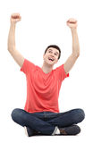 Szczęśliwy facet z rękami podnosić Zdjęcia Royalty Free