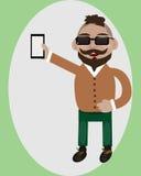 Szczęśliwy facet z smartphone ilustracja wektor