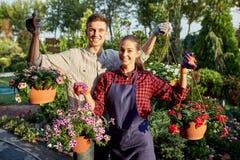 Szczęśliwy faceta i dziewczyny ogrodniczek chwyt puszkuje z petunią w cudownym ogródzie na słonecznym dniu obraz royalty free
