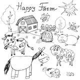 Szczęśliwy gospodarstwo rolne doodles ikony ustawiać Ręka rysujący nakreślenie z koniem, krową, baranią świnią i stajnią, dziecin Fotografia Stock