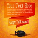 Szczęśliwy Halloween śliczny retro sztandar, kartka z pozdrowieniami lub ilustracji