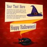 Szczęśliwy Halloween śliczny retro sztandar - wykonuje ręcznie papier ilustracji