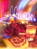 Szczęśliwy Halloween! Świętowania przyjęcie z bania napojem i tortem! T Obrazy Stock