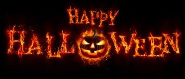 Szczęśliwy Halloween - bania W Płonącym teksta sztandarze fotografia royalty free