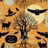 Szczęśliwy Halloween, banie, nietoperze i koty. Czarny tr Zdjęcia Stock