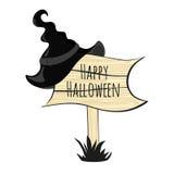 Szczęśliwy Halloween czarownicy kapelusz royalty ilustracja