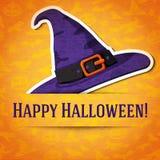 Szczęśliwy Halloween kartka z pozdrowieniami z czarownica kapeluszem Fotografia Royalty Free