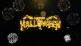 Szczęśliwy Halloween pisać złocistych cząsteczkach wybucha fajerwerku pokazu