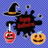 Szczęśliwy Halloween projekt Set serce ręki remis Wektorowa ilustracja odizolowywająca na błękitnym tle Czarni fishnet rajstopy royalty ilustracja