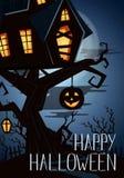 Szczęśliwy Halloween przyjęcia sztandar z strasznym kasztelem Zdjęcie Stock