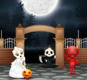 Szczęśliwy Halloween przyjęcie z grupą dzieci w różnym costumeHappy Halloween przyjęciu z grupą dzieci w różnym kostiumu ilustracji