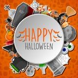 Szczęśliwy Halloween round sztandar z płaskimi ikona majcherami na pomarańczowym tle Zdjęcie Royalty Free