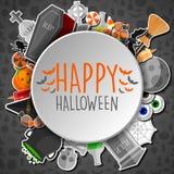 Szczęśliwy Halloween round sztandar z płaskimi ikona majcherami na szarym tle Obrazy Royalty Free