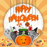 Szczęśliwy Halloween sztandar z płaskimi ikona majcherami na pomarańczowym tle Zdjęcia Royalty Free