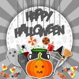 Szczęśliwy Halloween sztandar z płaskimi ikona majcherami na szarym tle Zdjęcie Royalty Free