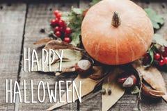 Szczęśliwy Halloween teksta znak, kartka z pozdrowieniami spadku wizerunek piękne Zdjęcia Royalty Free