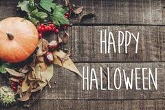 Szczęśliwy Halloween teksta znak, kartka z pozdrowieniami spadku wizerunku mieszkanie nieatutowy B Zdjęcie Stock