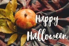 Szczęśliwy Halloween teksta znak na jesieni bani z kolorowymi liśćmi Zdjęcia Stock