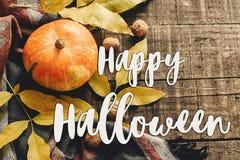 Szczęśliwy Halloween teksta znak na jesieni bani z liśćmi i waln Fotografia Royalty Free