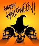 Szczęśliwy Halloween Trzy Przerażającej Czarnej czaszki royalty ilustracja