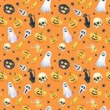 Szczęśliwy Halloweenowy bezszwowy deseniowy tło Śmieszna bania, duch, czarny kot, potwory beak dekoracyjnego latającego ilustracy Zdjęcia Stock