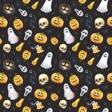 Szczęśliwy Halloweenowy bezszwowy deseniowy tło Śmieszna bania, duch, czarny kot, potwory beak dekoracyjnego latającego ilustracy Fotografia Stock