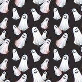 Szczęśliwy Halloweenowy bezszwowy deseniowy tło Śmieszni duchy, duchy beak dekoracyjnego latającego ilustracyjnego wizerunek swój Obraz Royalty Free