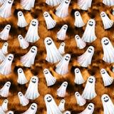 Szczęśliwy Halloweenowy bezszwowy deseniowy tło Śmieszni duchy, duchy beak dekoracyjnego latającego ilustracyjnego wizerunek swój Fotografia Stock