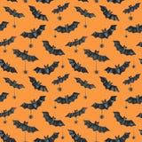 Szczęśliwy Halloweenowy bezszwowy deseniowy tło Śmieszni nietoperze i pająki beak dekoracyjnego latającego ilustracyjnego wizerun Zdjęcie Royalty Free