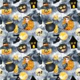 Szczęśliwy Halloweenowy bezszwowy deseniowy tło czarownic piękni potomstwa Śmieszna bania, duch, czarny kot, potwory akwareli ill Obraz Stock