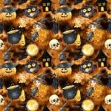 Szczęśliwy Halloweenowy bezszwowy deseniowy tło czarownic piękni potomstwa Śmieszna bania, duch, czarny kot, potwory akwareli ill Obrazy Royalty Free