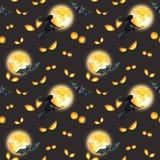 Szczęśliwy Halloweenowy bezszwowy deseniowy tło Zli oczy, księżyc w pełni, latająca czarownica beak dekoracyjnego latającego ilus Zdjęcie Royalty Free