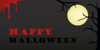 Szczęśliwy Halloweenowy blask księżyca i krew ilustracji