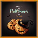 Szczęśliwy Halloweenowy dźwigarki o lampionów projekt Ilustracja Wektor