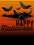 Szczęśliwy Halloweenowy ducha nietoperza ikony tło Fotografia Royalty Free