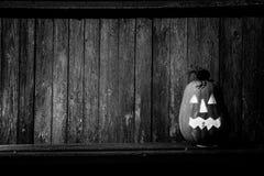 Szczęśliwy Halloweenowy dyniowy tło Fotografia Stock