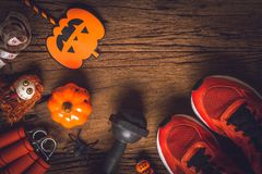Szczęśliwy Halloweenowy dzień z sprawnością fizyczną out, ćwiczenie, Pracujący zdrowy fotografia stock