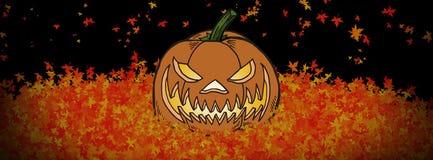 Szczęśliwy HALLOWEENOWY jesień liści bannerC royalty ilustracja