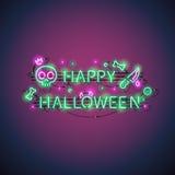 Szczęśliwy Halloweenowy Neonowy znak Obraz Royalty Free
