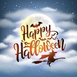 Szczęśliwy Halloweenowy nocy tło z ręcznie pisany literowaniem zdjęcia stock
